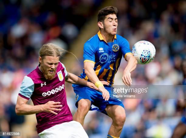 Birkir Bjarnson of Aston Villa during the PreSeason Friendly match between Shrewsbury Town and Aston Villa at the Greenhous Meadow on July 15 2017 in...