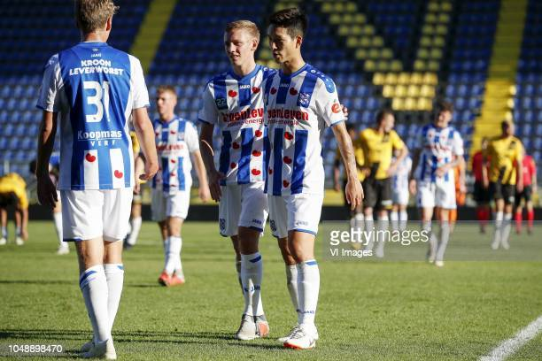 Birkir Heimisson of sc Heerenveen Emil Frederiksen of sc Heerenveen Yuki Kobayashi of sc Heerenveen during the Friendly match between NAC Breda and...