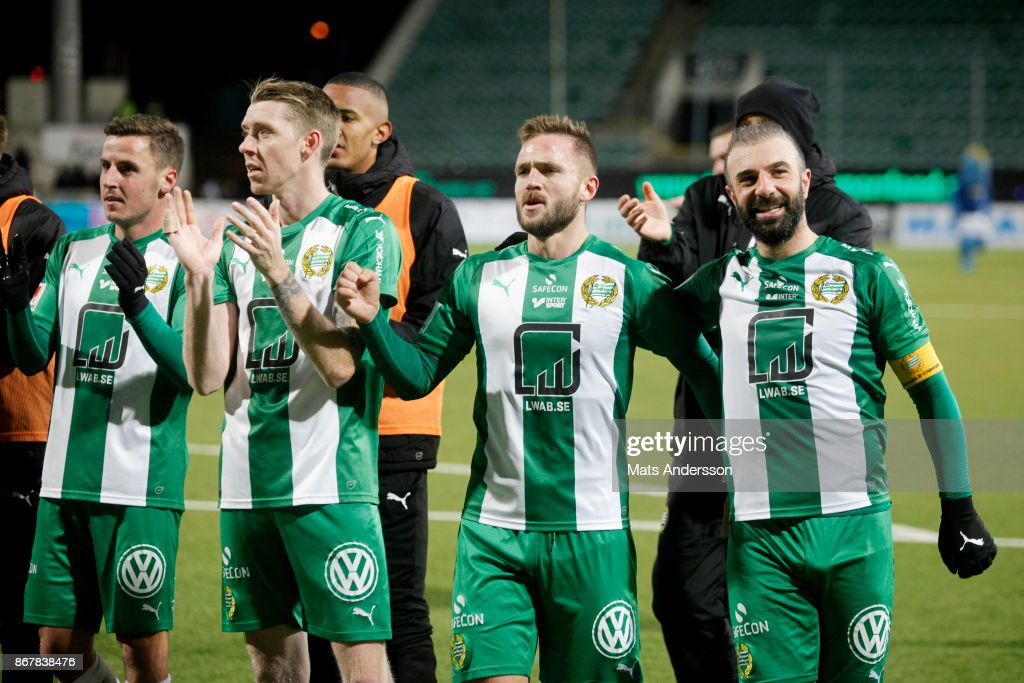 Birkir Mar Saevarsson, Mats Solheim and Kennedy Bakircioglu of Hammarby IF celebrates after the victory during the Allsvenskan match between GIF Sundsvall and Hammarby IF at Norrporten Arena on October 29, 2017 in Sundsvall, Sweden.