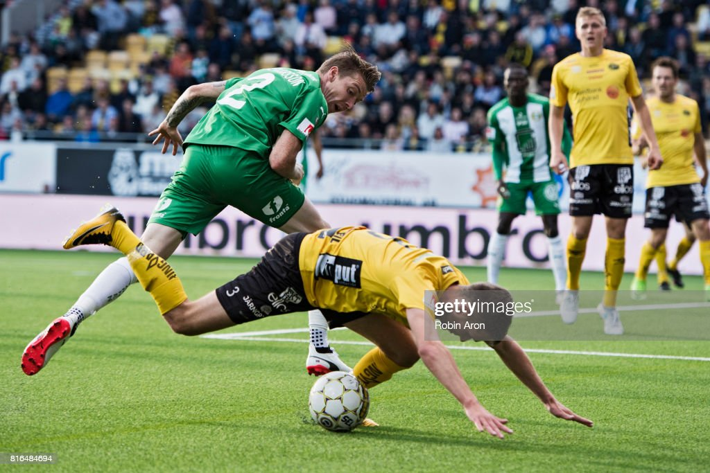 Birkir Mar Saevarsson of Hammarby IF and Adam Lundqvist of IF Elfsborg battles for the ball during the Allsvenskan match between IF Elfsborg and Hammarby at Boras Arena on July 17, 2017 in Boras, Sweden.