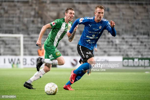 Birkir Mar Saevarsson of Hammarby IF and Andreas Bengtsson of Halmstad BK during the Allsvenskan match between Hammarby IF and Halmstad BK at Tele2...