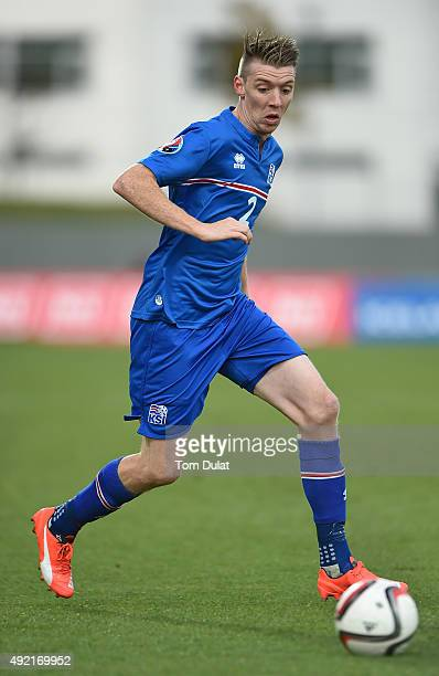 Birkir Saevarsson of Iceland in action during the UEFA EURO 2016 Qualifier match between Iceland and Latvia at Laugardalsvollur National Stadium on...