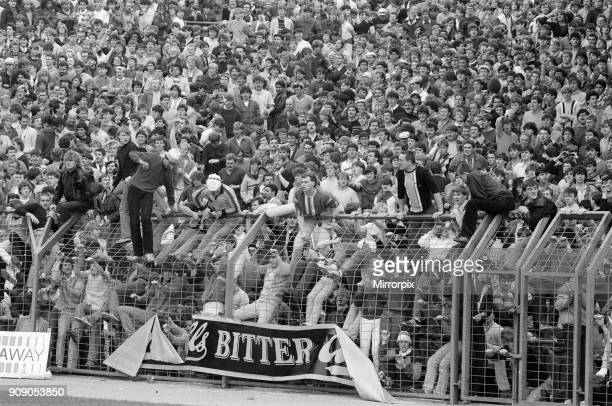 Birmingham 1 - 0 Leeds Division 2 match, held at St Andrew's Stadium. Violent scenes at the end after fans poured onto the pitch, 11th May 1985.