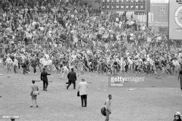 Birmingham 1 0 Leeds Division 2 match held at St Andrew's Stadium Violent scenes at the end after fans poured onto the pitch 11th May 1985