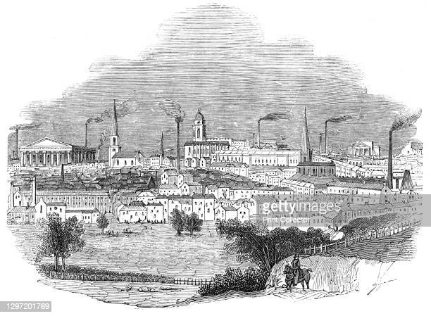 """Birmingham, 1844. View of the city of Birmingham in the West Midlands, a centre of manufacturing during the Industrial Revolution. From """"Illustrated..."""