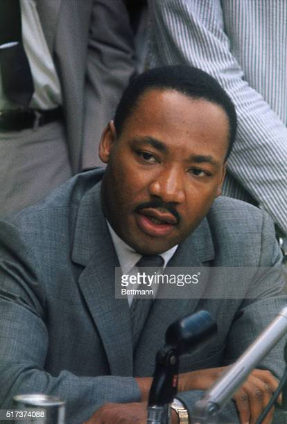 Birmingham, Alabama: Rev. Martin Luther King, Jr. Is shown at a news conference here in which he said that negotiations to end Birmingham's racial...
