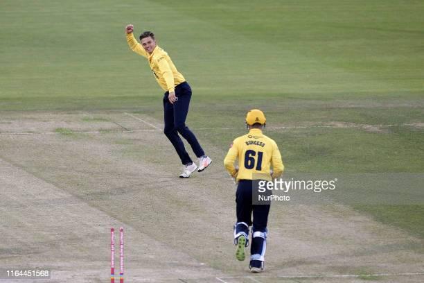 Birmingham Bears' Chris Green celebrates after bowling Durham's Scott Steel during the Vitality T20 Blast match between Durham County Cricket Club...