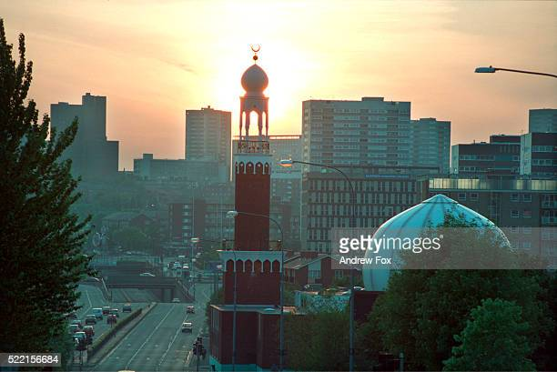 Birmingham Central Mosque Backlit by Sun