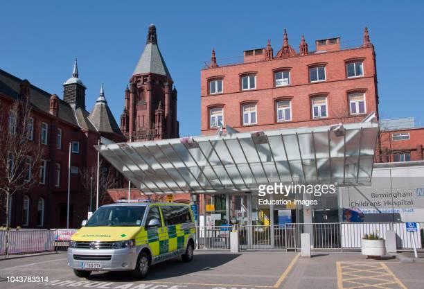 Birmingham Children`s Hospital with ambulance, West Midlands, England, UK.