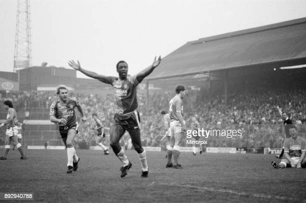 Birmingham City 1-2 Aston Villa, league division 2 match at St Andrews, Saturday 12th December 1987. Our picture shows Garry Thompson celebrates...