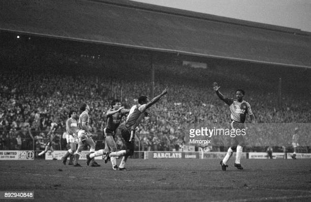 Birmingham City 12 Aston Villa league division 2 match at St Andrews Saturday 12th December 1987 Our picture shows players celebrate after scoring...
