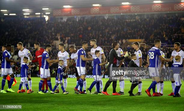 Birmingham City and Bolton Wanderers players shake hands before the game Birmingham City v Bolton Wanderers Sky Bet Championship St Andrew's Trillion...