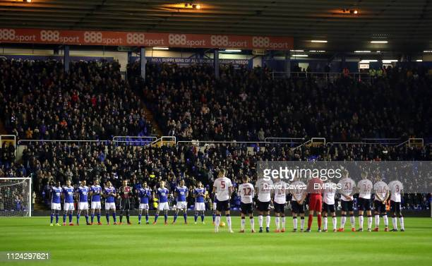 Birmingham City and Bolton Wanderes players hold a minute applause in remembrance of former England player Gordon Banks who passed away on February...