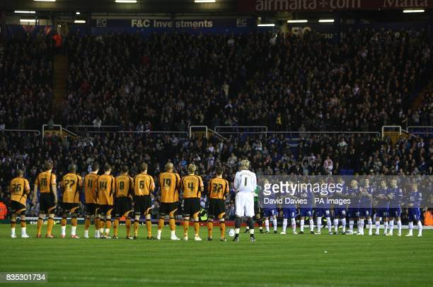 Birmingham City and Wolverhampton Wanderers players observe a minutes silence in memory of Jeff Hall who died 50 years ago