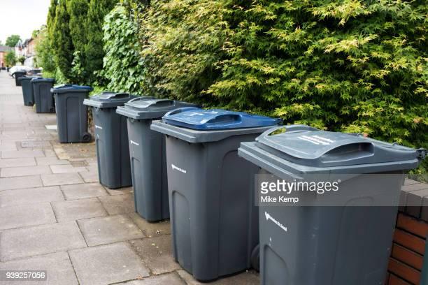 Birmingham City Council recycling wheelie bins in Moseley in Birmingham England United Kingdom