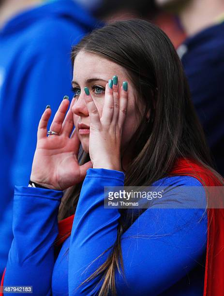 Birmingham City fan looks pensive during the Sky Bet Championship match between Bolton Wanderers and Birmingham City at Reebok Stadium on May 3 2014...