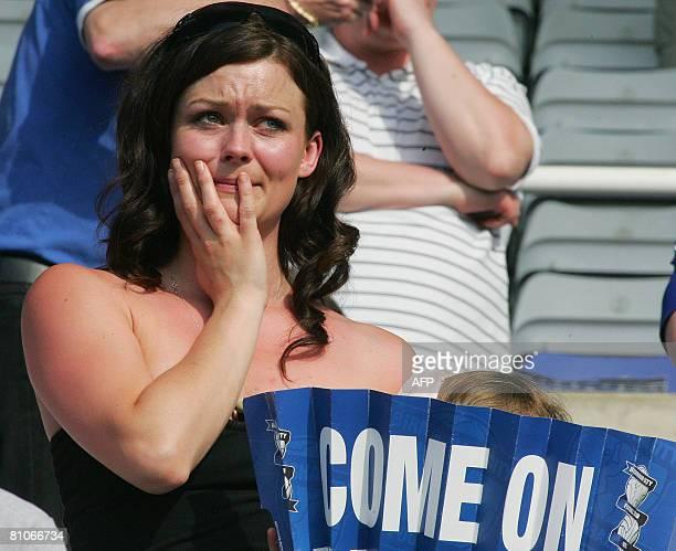A Birmingham City fan sheds a tear following a English Premiership soccer match played between Birmingham City FC and Blackburn Rovers FC at...