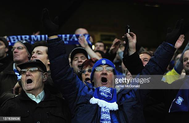 Birmingham City fans enjoy the game during the FA Cup Fourth Round sponsored by Budweiser game between Sheffield United and Birmingham City at...