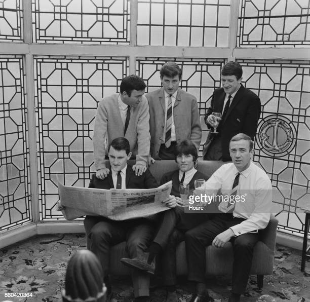 Birmingham City FC players during a social gathering Barry Bridges Bert Murray Ron Fenton Geoff VowdenTrevor Hockey and Ronald Wylie UK 8th April 1987