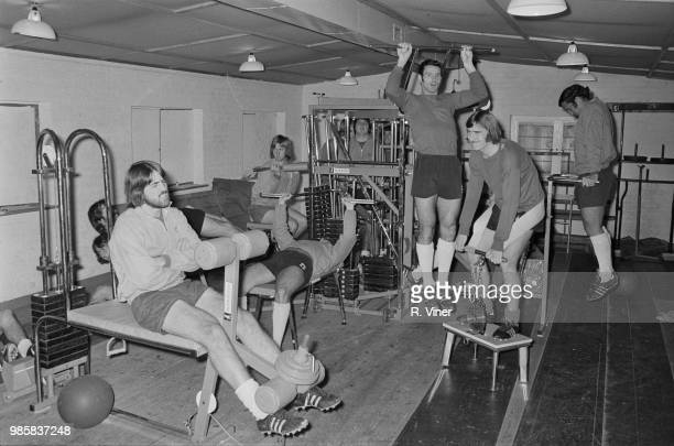 Birmingham City FC players pictured training on newly installed exercise equipment at the club's training facility in Birmingham on 14th October 1972...
