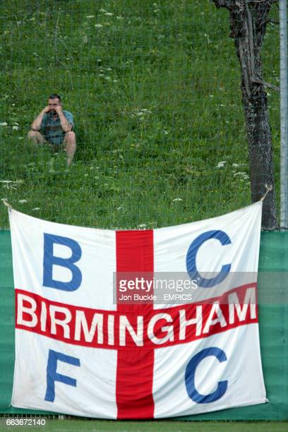 A Birmingham City flag alongside the pitch during the game