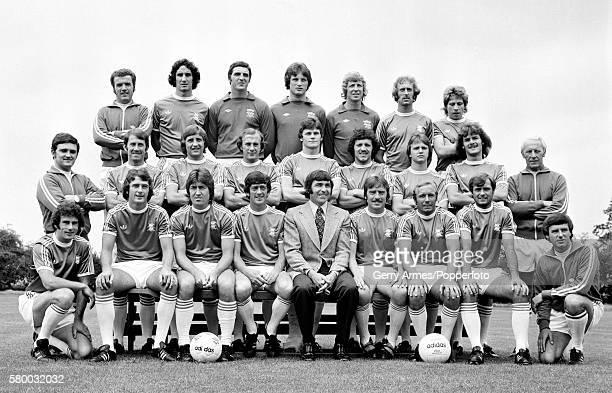 Birmingham City football team at Elmdon Heath near Birmingham 22nd July 1977 Back row Ken Oliver Ricky Sbragia Dave Latchford Steve Smith Jim...