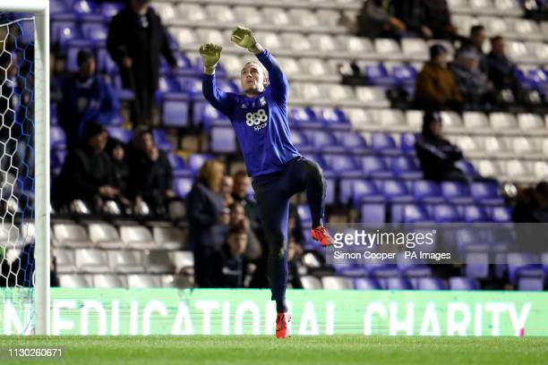 Birmingham City goalkeeper Lee Camp warms up ahead of the match during the Sky Bet Championship match at St Andrew's Trillion Trophy Stadium...
