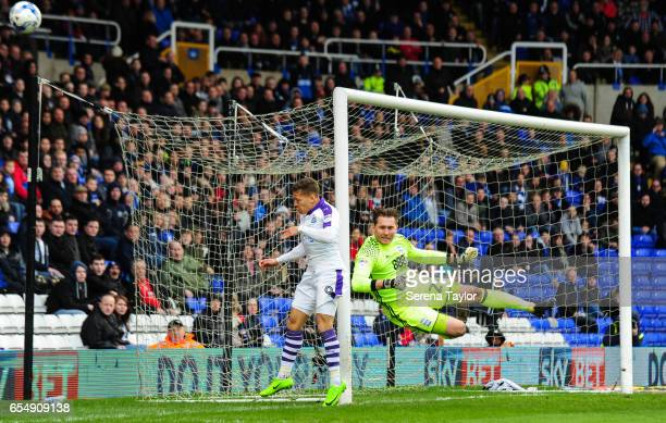 Birmingham City Goalkeeper Tomasz Kuszczak fly's in the air to punch the ball away from Dwight Gale of Newcastle United during the Sky Bet...