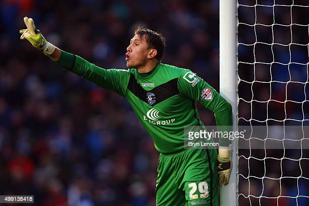 Birmingham City goalkeeper Tomasz Kuszczak instructs his team during the Sky Bet Championship match between Brighton and Hove Albion and Birmingham...