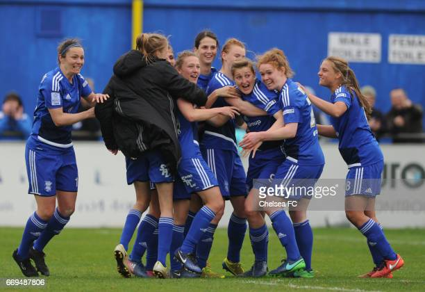Birmingham City Ladies celebrate after defeating Chelsea during the Women's FA Cup Semi Final between Birmingham City Ladies and Chelsea Ladies at...