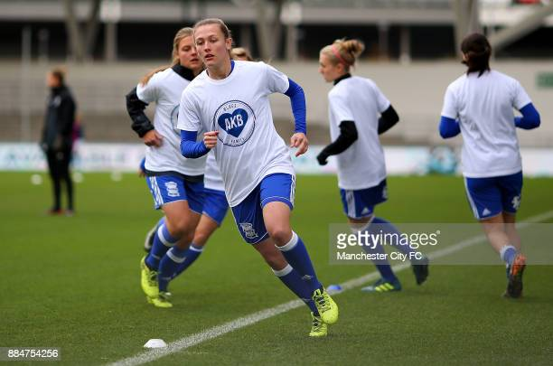 Birmingham City Ladies warm up in a specially designed tshirt during the FA WSL Continental Tyres Cup between Manchester City Women and Birmingham...