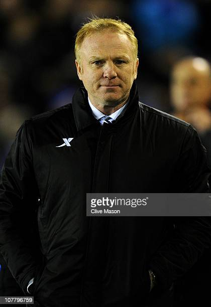 Birmingham City Manager Alex McLeish looks on prior to the Barclays Premier League match between Birmingham City and Manchester United at St Andrew's...