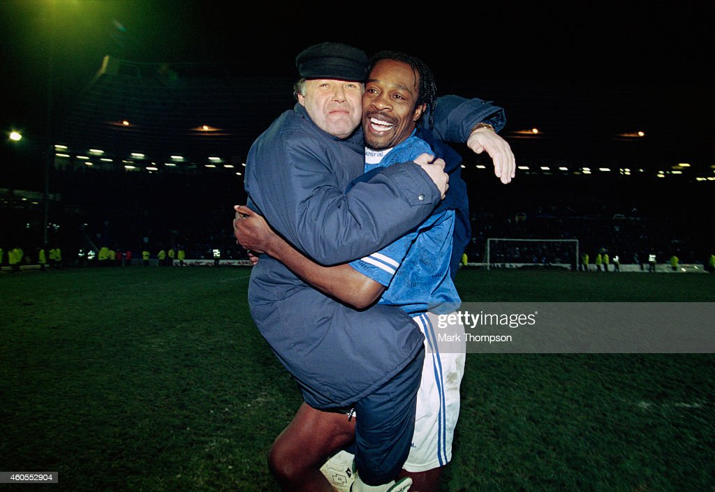 Birmingham City manager Barry Fry (l) celebrates with striker Kevin Francis after a Coca Cola Cup 4th Round replay match between Birmingham City and Middlesbrough at St Andrews on December 19, 1995 in Birmingham, England.