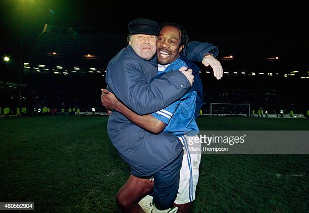 Birmingham City manager Barry Fry celebrates with striker Kevin Francis after a Coca Cola Cup 4th Round replay match between Birmingham City and...