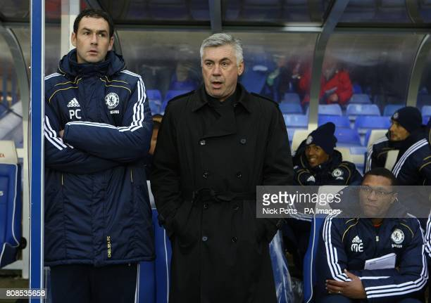 Birmingham City manager Carlo Ancelotti with assistant first team coaches Paul Clement and Michael Emenalo
