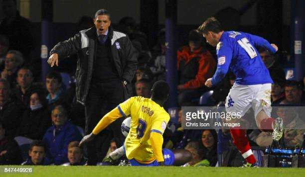 Birmingham City Manager Chris Hughton watches his team during the npower Championship match at Fratton Park Portsmouth