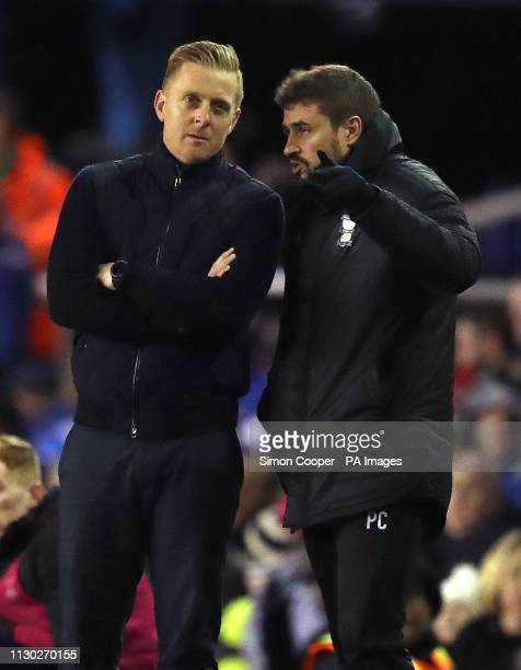 Birmingham City manager Garry Monk and assistant manager Pep Clotet watch match action from the touchline during the Sky Bet Championship match at St...
