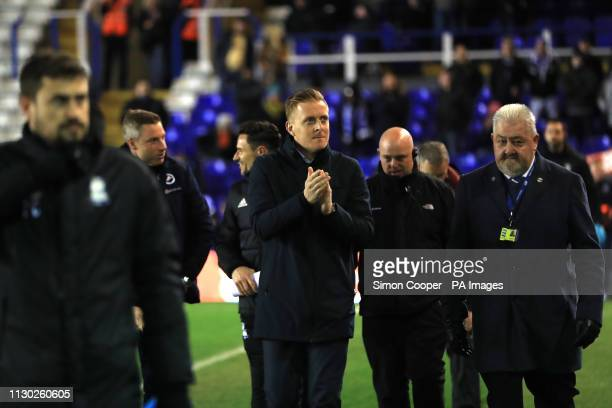 Birmingham City manager Garry Monk and coaching staff ahead of the match during the Sky Bet Championship match at St Andrew's Trillion Trophy Stadium...