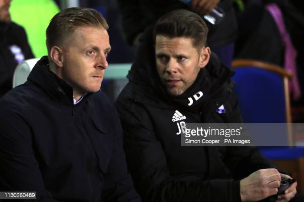 Birmingham City manager Garry Monk and first team coach James Beattie ahead of the match during the Sky Bet Championship match at St Andrew's...