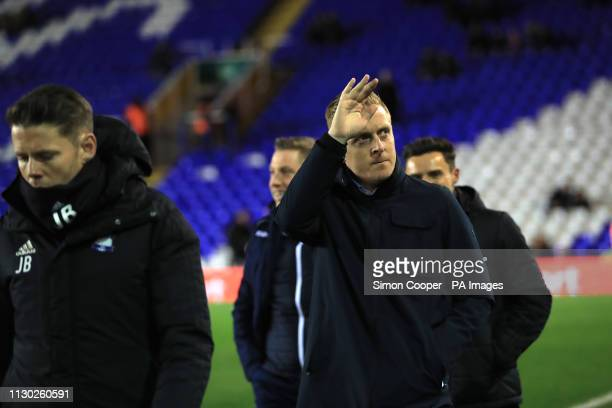 Birmingham City manager Garry Monk waves to the crowd ahead of the match during the Sky Bet Championship match at St Andrew's Trillion Trophy Stadium...