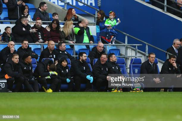 Birmingham City manager Gary Monk sits with a dejected bench after Craig Bryson of Cardiff City scores his sides second goal of the match during the...