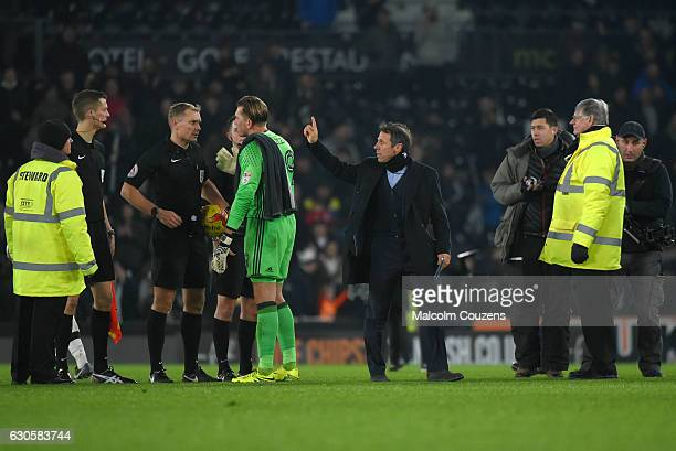 Birmingham City manager Gianfranco Zola reacts as Tomasz Kuszczak of Birmingham City talks to referee Graham Scott following the Sky Bet Championship...