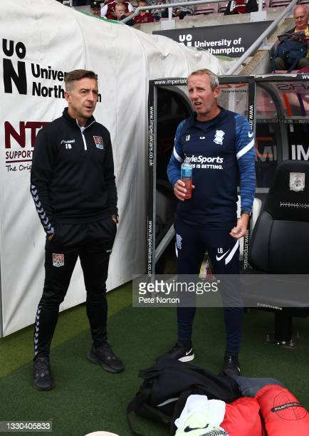 Birmingham City manager Lee Bowyer and Northampton Town manager Jon Brady prior to the pre-Season Friendly match between Northampton Town and...