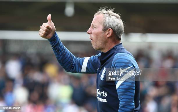 Birmingham City manager Lee Bowyer looks during the pre-Season Friendly match between Northampton Town and Birmingham City at Sixfields on July 24,...