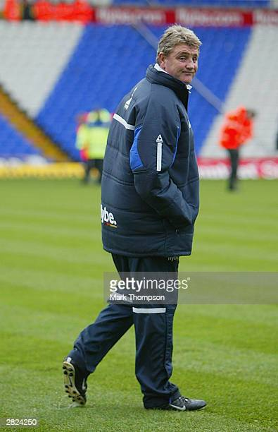 Birmingham City Manager Steve Bruce inspects a waterlogged pitch before the FA Barclaycard Premiership match between Birmingham City and...