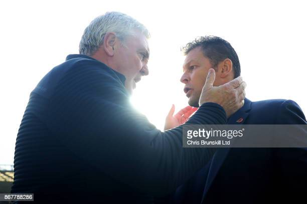 Birmingham City manager Steve Cotterill greets Aston Villa manager Steve Bruce ahead of the Sky Bet Championship match between Birmingham City and...