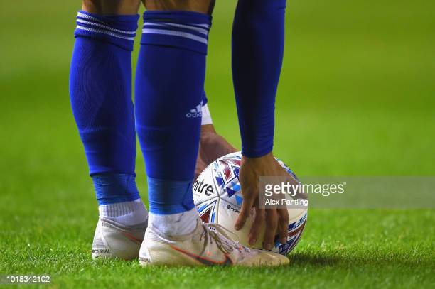 Birmingham City player places the ball down to take a freekick during the Sky Bet Championship match between Birmingham City and Swansea City at St...