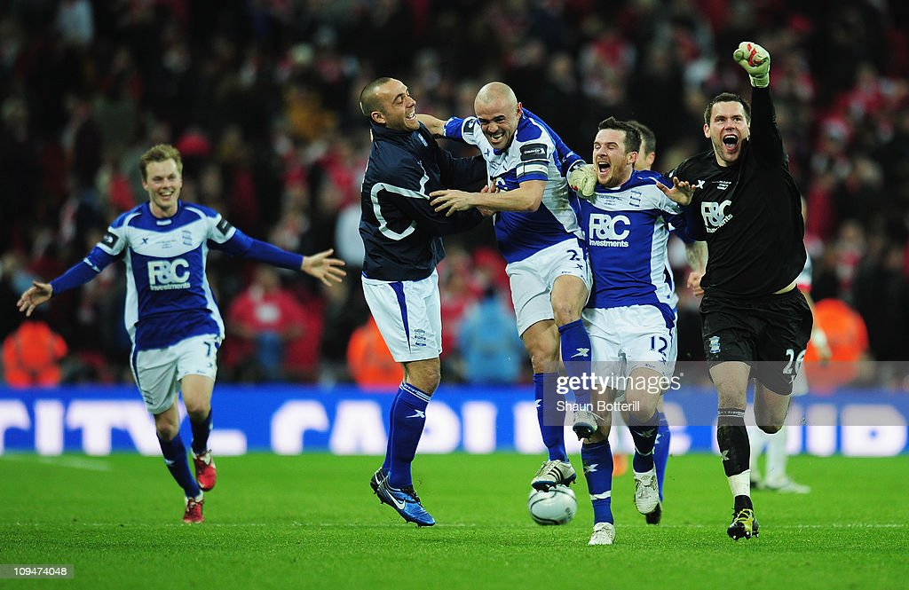 Birmingham City players celebrate victory after the Carling Cup Final between Arsenal and Birmingham City at Wembley Stadium on February 27, 2011 in London, England.