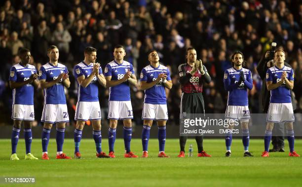 Birmingham City players hold a minute applause in remembrance of former England player Gordon Banks who passed away on February 12 2019 Birmingham...