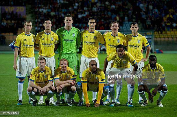 Birmingham City players pose for a photograph before the Europa League football match between NK Maribor and Birmingham City on September 29 in...